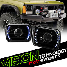 7X6 Black Clear Glass Lens White Led Projector Headlights Kit H4 H6052 H6054 V06