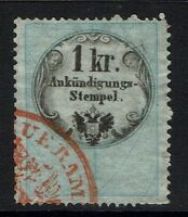Austria 1kr advertisement rev stamp perf 15 x13.5 red cancel, see noteLot 052117