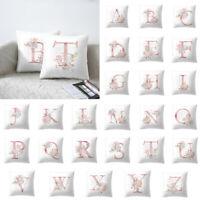 26 Alphabet Print Throw Pillow Cover Car Waist Cushion Pillowcase Name DIY Decor