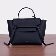 CELINE 2250$ Authentic New Black Leather Micro Belt Bag In Grained Calfskin