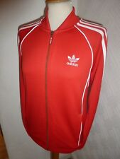 MENS ADIDAS ORIGINALS RED 80'S CASUALS FIREBIRD TRACK JACKET ZIP CARDIGAN TOP S