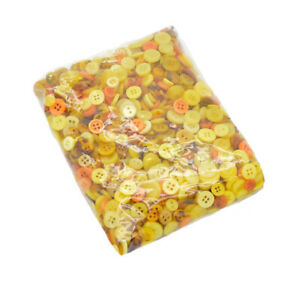 200pc Yellow Round Small Resin Buttons for Sewing DIY Craft Accessories 7-15 mm