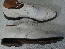 Vintage Footjoy Golf Shoes 7 EE Extra Wide. White Wing Tip, Leather, Soft Spikes
