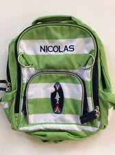 Pottery Barn Kids Small Fairfax Green White Striped Backpack Name NICOLAS New