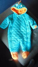 M&S All-In-One Hooded Double Zipper Dinosaur Pram Suit 3-6m 69cm Green Mix BNWT