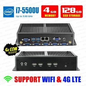 Fanless Mini PC 4G/128G Intel i7 5500U 2*LAN 6*COM 8*USB 2*DISPLAY Industrial PC
