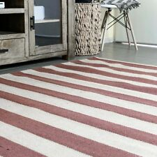 KOCHI NATURAL STRIPES RED JUTE FIBRE FLOOR RUG (L) 200x290cm **FREE DELIVERY**