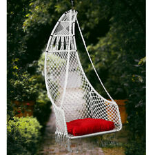 Curio Centre White Half Moon Shape Cotton Hammock Swing Chair For Home Decor