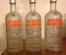 3 Empty Absolute Orange Vodka 1 Litre Bottles Frosted Glass / Near Mint