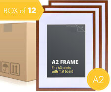 Box of 12 - A2 Walnut Photo Frame + Mat Board - A2 Picture Frames Wall Decor