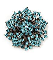 Vintage Antique Gold & Sky Blue Rhinestones Flower Shaped Brooch Pin BR148