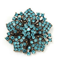 Vintage Antique Gold & Sky Blue Rhinestones Flower Shaped Brooch Pin BR148
