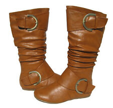 New Women's Flat Winter BOOTS Fashion Mid Calf Camel Snow shoes Ladies Size 5.5