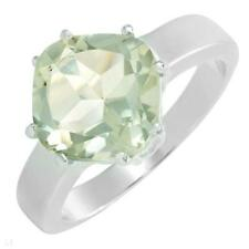 3.5ctw Green Amethyst SSilver Ring-Size 7-Value $160.00