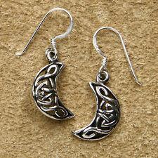 Keltische Mond Ohrhänger aus 925 Sterlingsilber Mittelalter Ohrringe Silber Kelt