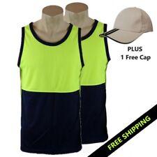 2x Hi Vis SINGLET Yellow/Navy SAFETY MicroMesh  PLUS free Stone/Navy CAP