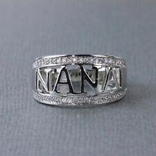 1PC NANA Ring Simple Crystal Rhinestone Band Fashion Gift for Grandma Size 5-12