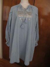 Anthropologie Women's Blue Embroidered Denim Dress