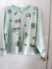 Womens Artisans Screen Print Christmas Ugly ? Sweater Jacket Light Green XXL