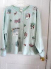 Womens Artisans Screen Print Christmas Ugly ? Sweater Jacket Light Green XXL