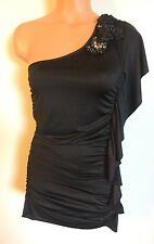 •• Women's Size Small Studio Y Blouse Polyester Off Shoulder Ruched Tunic Top