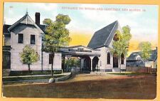 1909 Original Entrance to Woodland Cemetery, Des Moines Iowa, PC mailed w/ stamp