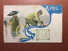 Original! Antique postcard early 1900s Calendar April for cyclists bicycle rain