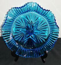 Sorprendente Blu Vintage Vetro Pressato a balze taglio Fruit Bowl/semisferasup