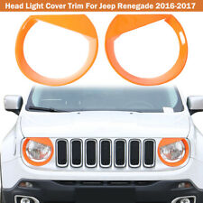 Orange Front Light Headlight Lamp Trim Cover Decor For Jeep Renegade 16-18 ABS