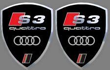 2 adhésifs stickers noir et chrome AUDI S3  (idéal pour ailes avant)