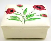Blue Ridge Southern Potteries Lidded Trinket Box Wild Irish Rose Pattern Vintage