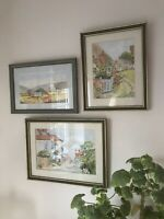 Set Of 3 Original Signed P.M.Cadge Watercolours Framed Landscape English Country