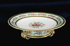 MINTON ANTIQUE PORCELAIN TRIPOD COMPOTE FOOTED PLATE round turquoise