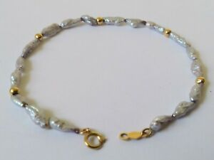 14k Yellow Gold Pearl Bracelet, 7 Inches Long, (2.1 grams)