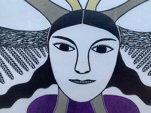 Kenojuak Ashevak Inuit Limited Ed Stone Cut  Dorest Print, Spirit of the Raven