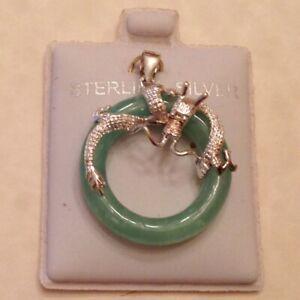 ~New Genuine Apple Green Jade Pendant - Imperial Dragon Design Sterling Silver