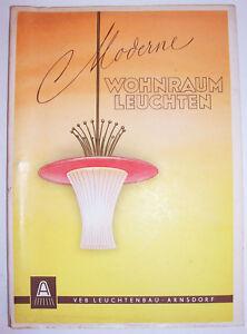 Katalog Moderne Wohnraum Leuchten Lampen VEB Leuchtenbau Arnsdorf 1956 (H6