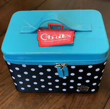 Caboodles Gilded Pleasure Nail Valet  Black & Turquoise with White Polka Dots