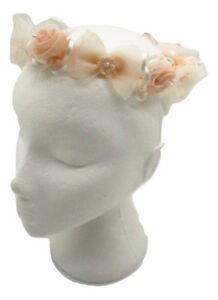 Peach with Ivory Rose Flower Crown flower girl wedding hair comb fascinator