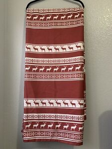 """Woolrich Shower Curtain Deer Pattern 70"""" W x 71"""" H Country Cabin Red x White"""