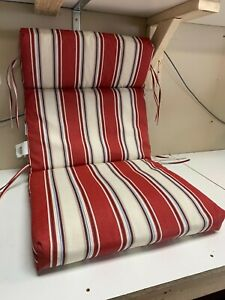 21.5 in. x 24 in. Chili Stripe Outdoor High Back Dining Chair Cushion