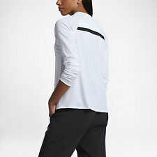 NIKE Womens Sportswear Bonded Long Sleeve SHIRT, XL, White w/Black, 805197, NWT