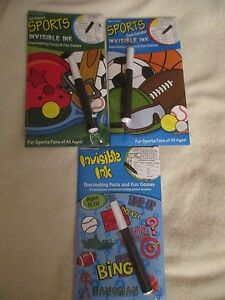 Yes & Know Invisible Ink  Book Lot Sports Facts & Games