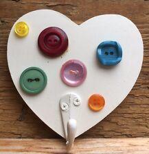 Cute Hand Made Vintage Button Coat Hook/Heart Shaped/Wall Hook/Novelty/Craft