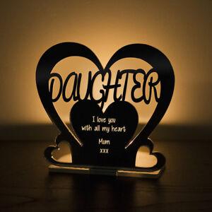 Personalised Tea Light Heart Candle Holder For DAUGHTER Birthday Keepsake Gift