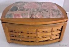 Vintage Sewing Basket Kit Box Caddy Medium Wood Fabric $29.99 value HTF