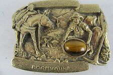Metal Belt Buckle Rockhound Made in USA Tiger Eye Stone Miner