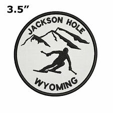 "Jackson Hole, Wyoming Extreme Sports Skier 3.5"" Embroidered Iron or Sew-on Patch"