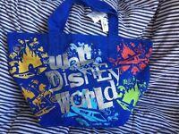 "NEW! Walt Disney World Large XL Blue Canvas Tote Bag Disney Parks 24""w x 14""tx10"