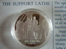 THE SUPPORT LATHE MANKIND INVENTIONS HALLMARKED SILVER PROOF MEDAL BY J PINCHES